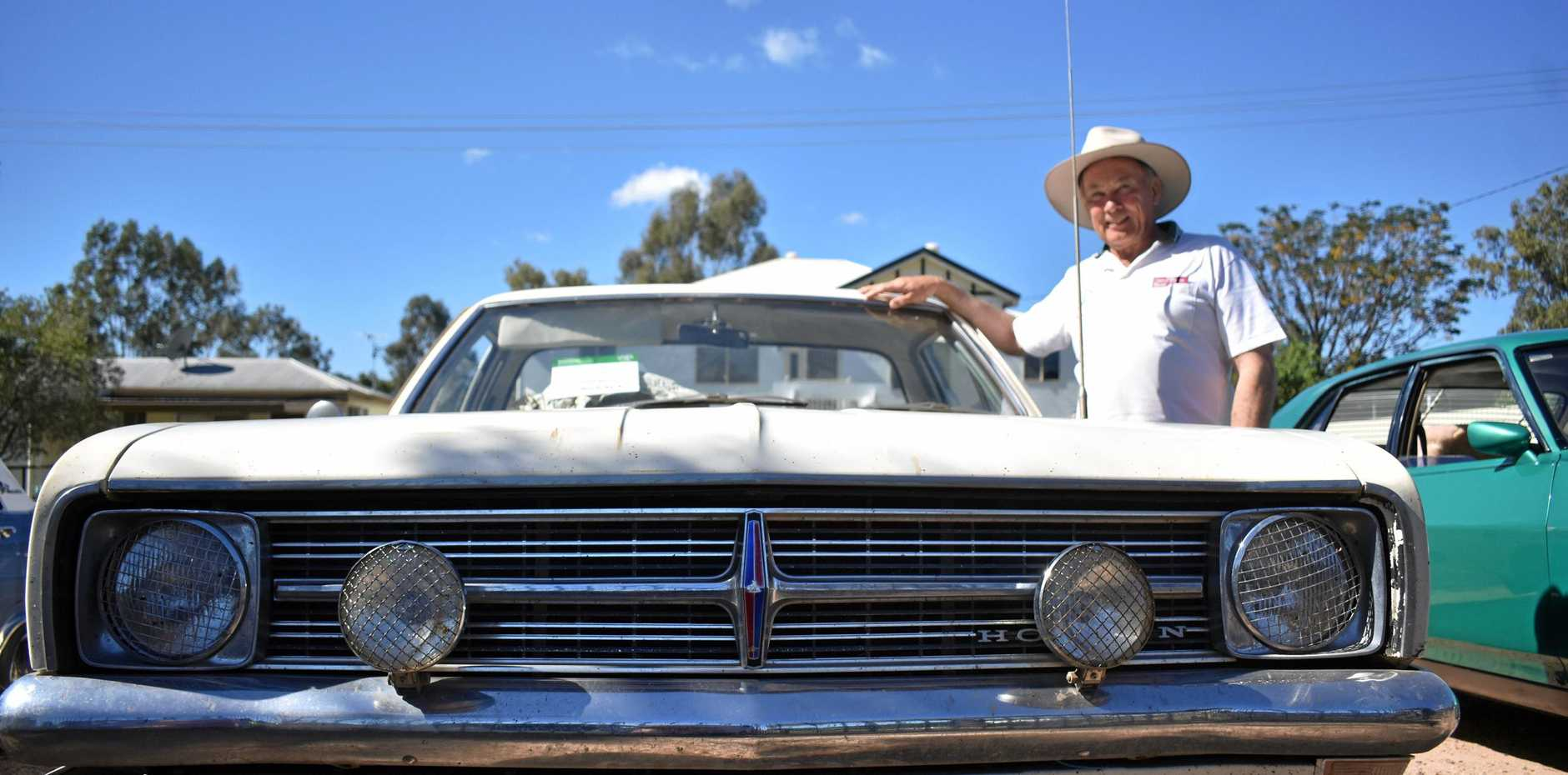 VINTAGE: Stuart Johnson with his 1969 HK Holden Kingswood at the National Motor Heritage Day in Roma.