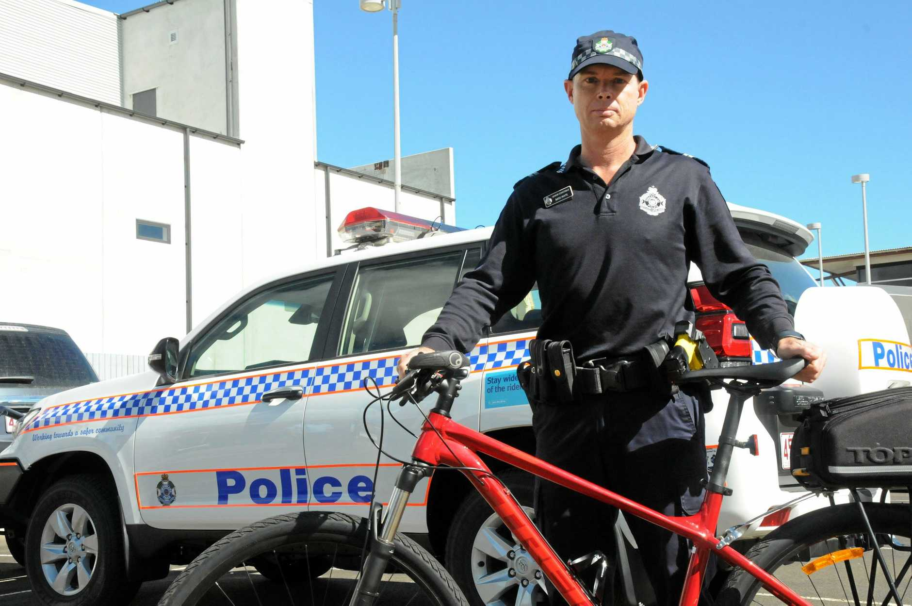 Senior Constable Bass White of Toowoomba Police was on the Bicycle Squad when a routine walk-through of the Gowrie Road Hotel allegedly escalated into a potentially deadly situation.