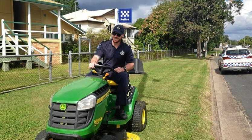 READY TO ROLL: Senior Constable Jake Colvin prepping the station grass near Policeman's Hill.
