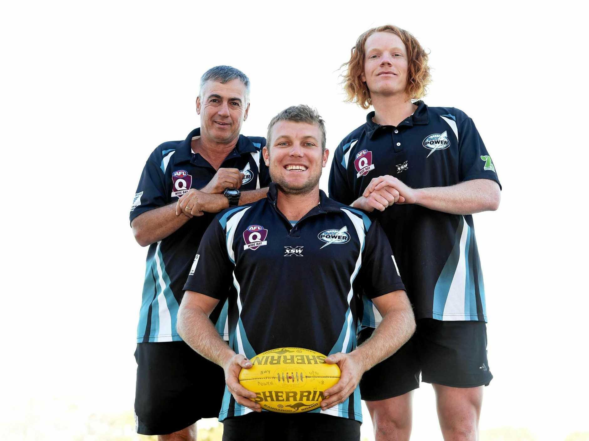 AFL Bay Power coach Michael Gay, Captain Joshua Wheeler and young gun Marcus Dyson.