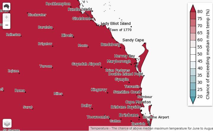 BOM's seasonal outlook for exceeding median maxmum temperatures in Wide Bay.