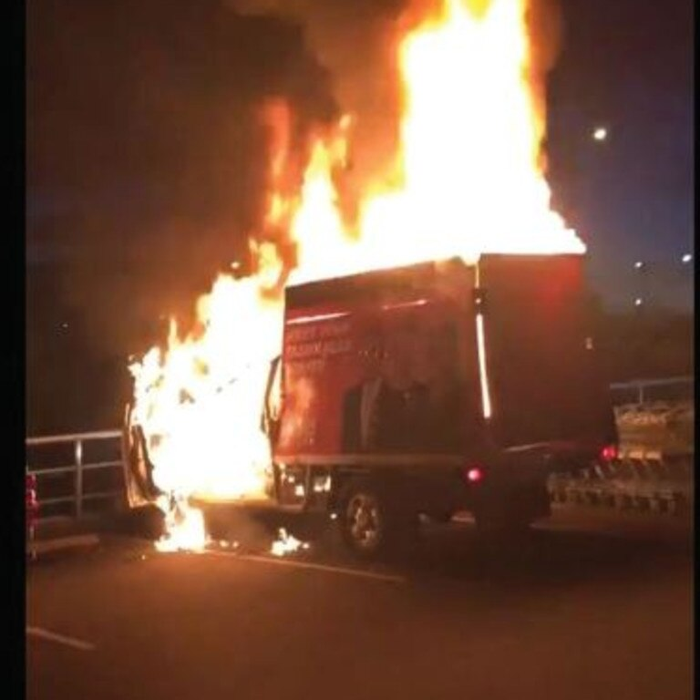 Pauline Hanson claimed someone could be seen torching the truck before fleeing.