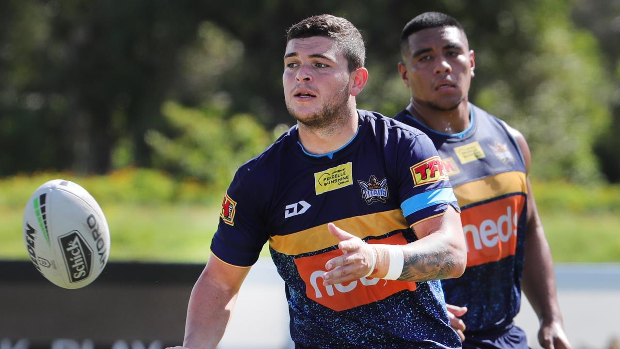 Gold Coast Titans halfback Ash Taylor is under the pump. Picture: Glenn Hampson