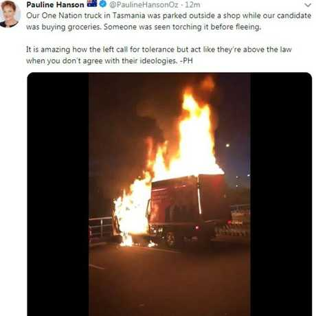 Pauline Hanson tweeted a photo of the burning truck.
