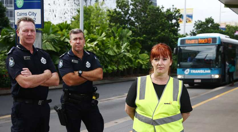 Cairns police are working in conjunction with Sunbus to stop vandalism and wanton destruction on the city's buses. Acting Inspector Gary Hunter, Senior Sergeant Duane Amos and Sunbus General Manager Jacqueline Williams at the city centre bus stop on Lake Street. PICTURE: BRENDAN RADKE