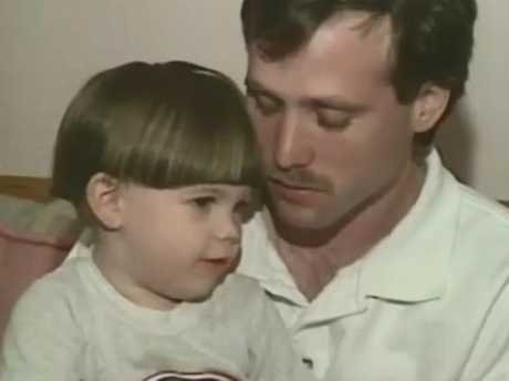 Aaron with his dad Michael Haim after the murder of his mother, Bonnie Haim. Picture: Supplied