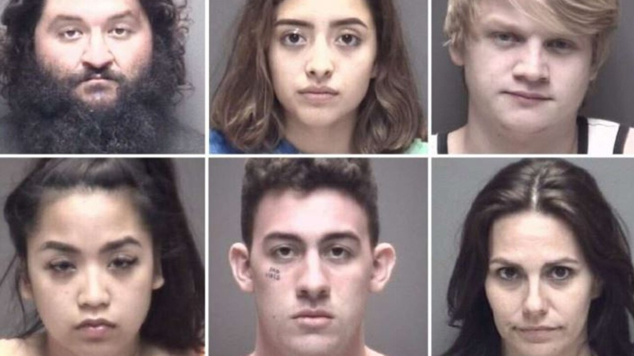 Some of the people arrested at the Go Topless Galveston event in Texas. Picture: Supplied
