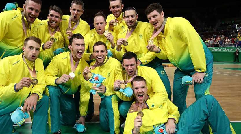 The gold medal-winning Boomers at the Gold Coast 2018 Commonwealth Games. Picture: Matt King/Getty Images