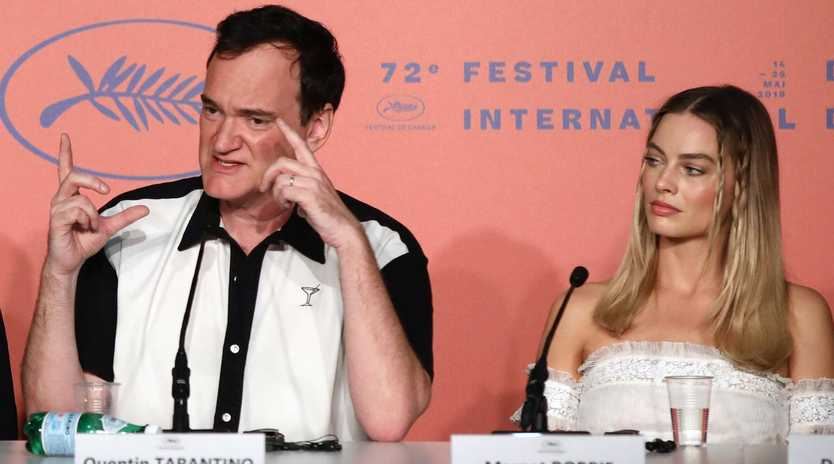 Quentin Tarantino and Margot Robbie at the Once Upon A Time In … Hollywood press conference during the Cannes Film Festival. Picture: John Phillips/Getty Images