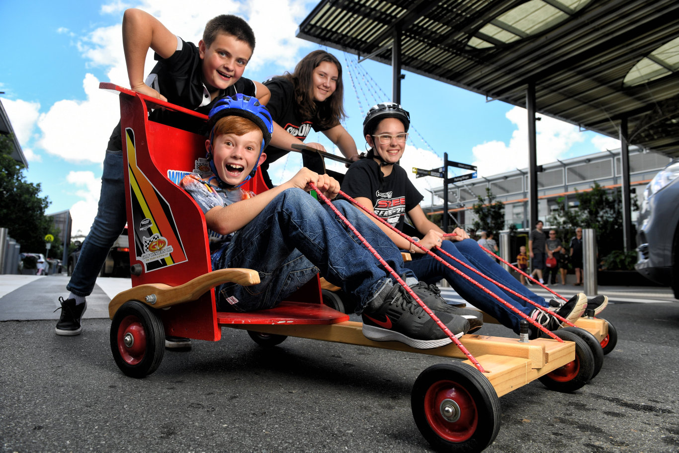 A soap box derby will be held at Orion Shopping Centre. (clockwise from back ) James Lowday, Teanah Littlewood, Liezel Gouws and Karl Schulz.