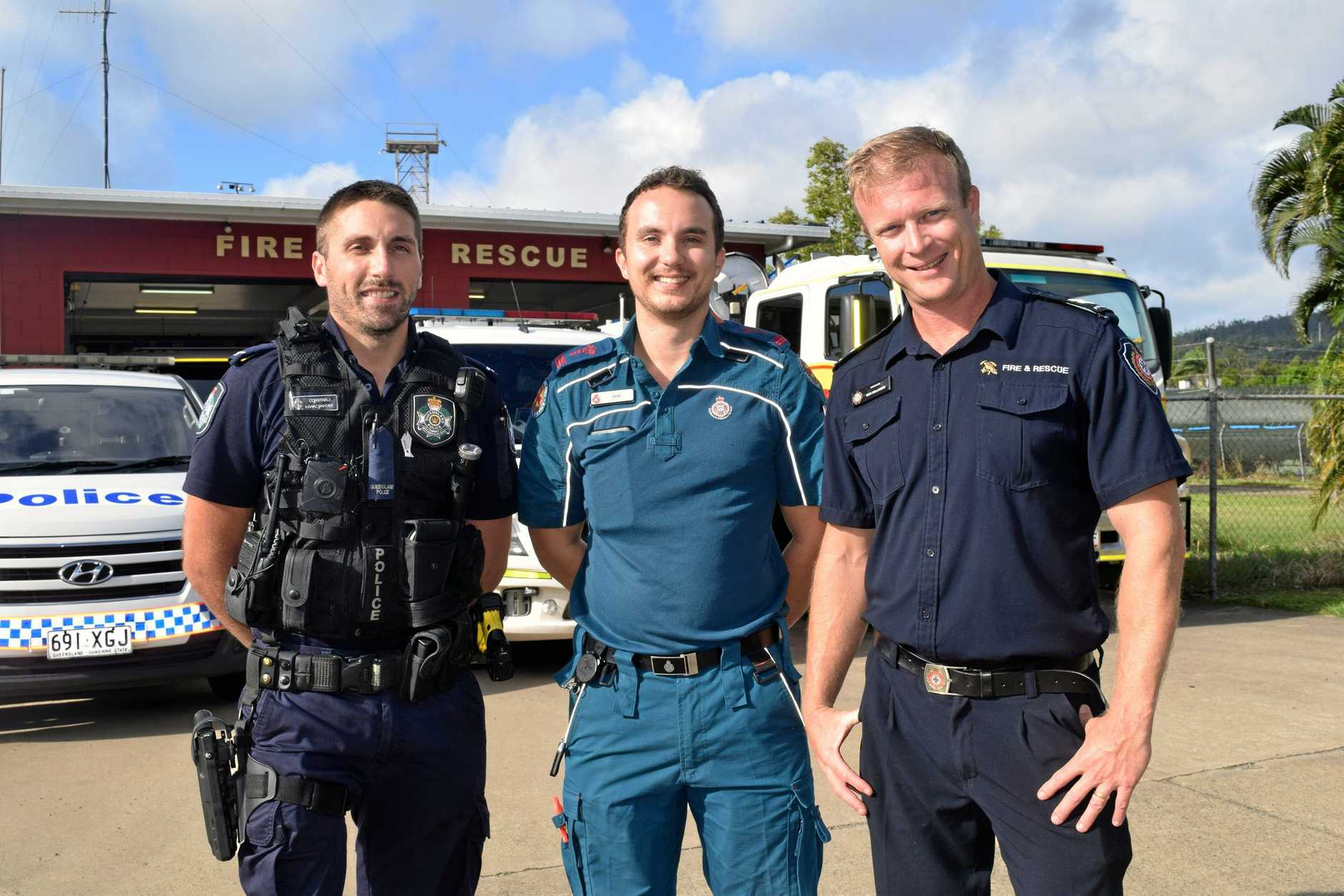 ON AGAIN: Whitsunday emergency services personnel Isaac Mahony, Alec Simpson and Nick Bellinger invite the community to the 2019 Whitsunday 000 Ball.