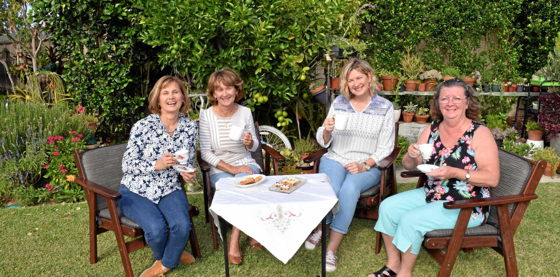 RAISING A CUP: Jo Grummitt, Liz Petersen, Jo Smith and Jenny Hondo celebrate raising almost $1000 for cancer research.