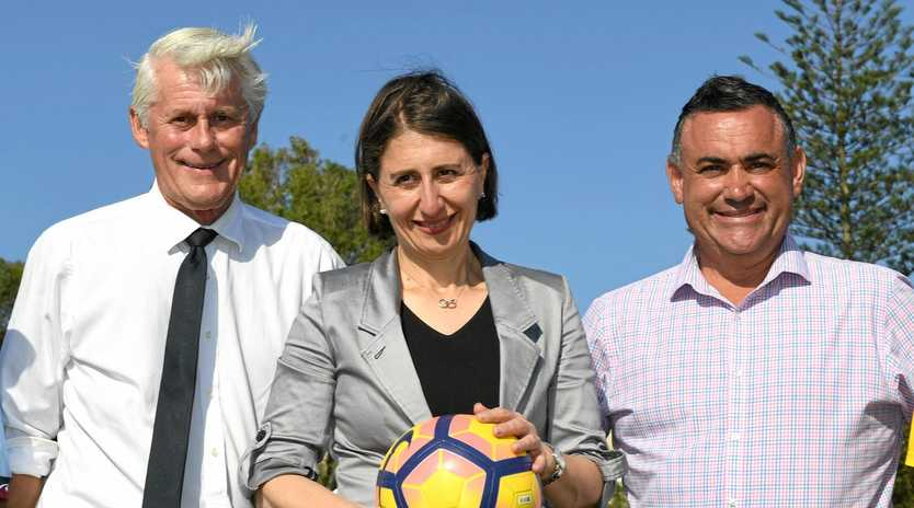 Member for Tweed Geoff Provest, NSW Premier Gladys Berejiklian and NSW Deputy Premier John Barilaro at Walter Peate Reserve, Kingscliff, NSW.