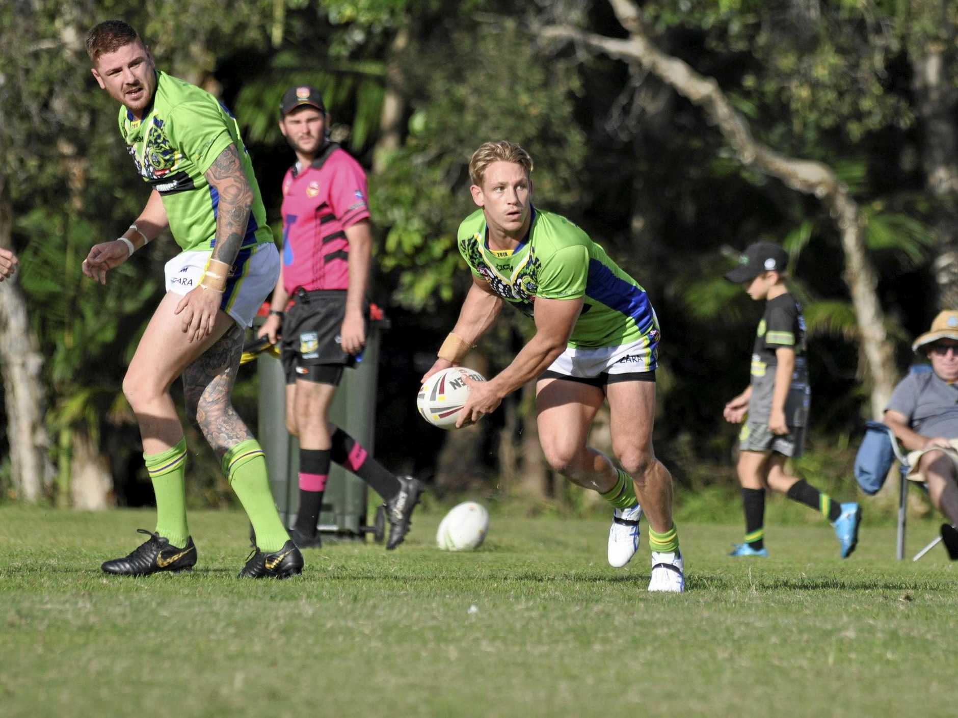 BOUNCE BACK: Tweed Coast Raiders player Dan Willoughby with the ball in his side's loss to Ballina.