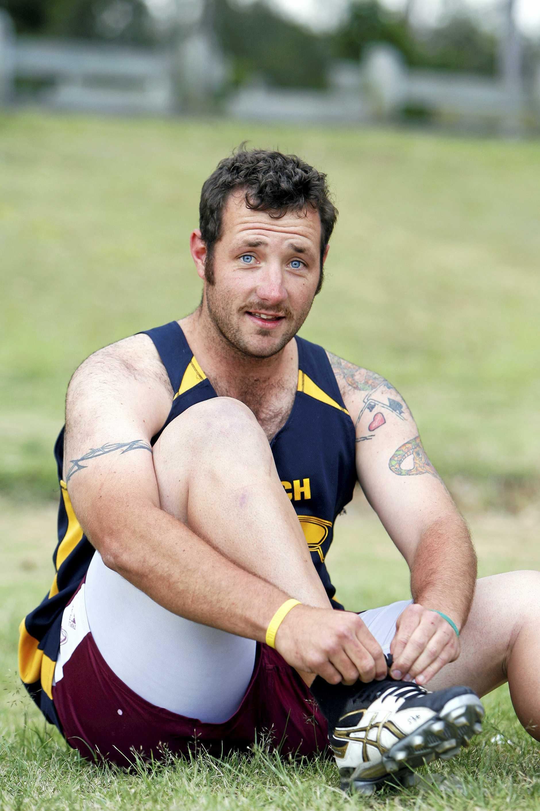 eagles22b Eagles Aussie Rules team member Chris Devlin (Fatty). Photo: Claudia Baxter NO2210BO The Queensland Times SPORT LEMSY