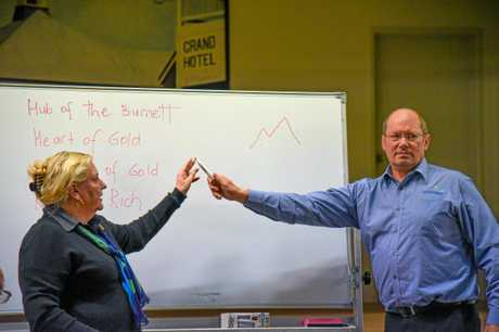 North Burnett Regional Council's economic development manager Melanie Lavelle-Maloney and general manager of works Johan Louw at the meeting in Mount Perry to determine the design for the town's new entry signs.