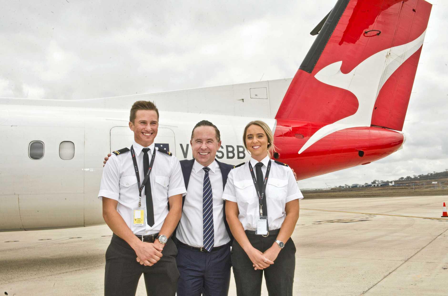 Tom Fanshawe, Qantas CEO Alan Joyce and Kimberley Pike at the announcement of the Qantas pilot training academy last year.