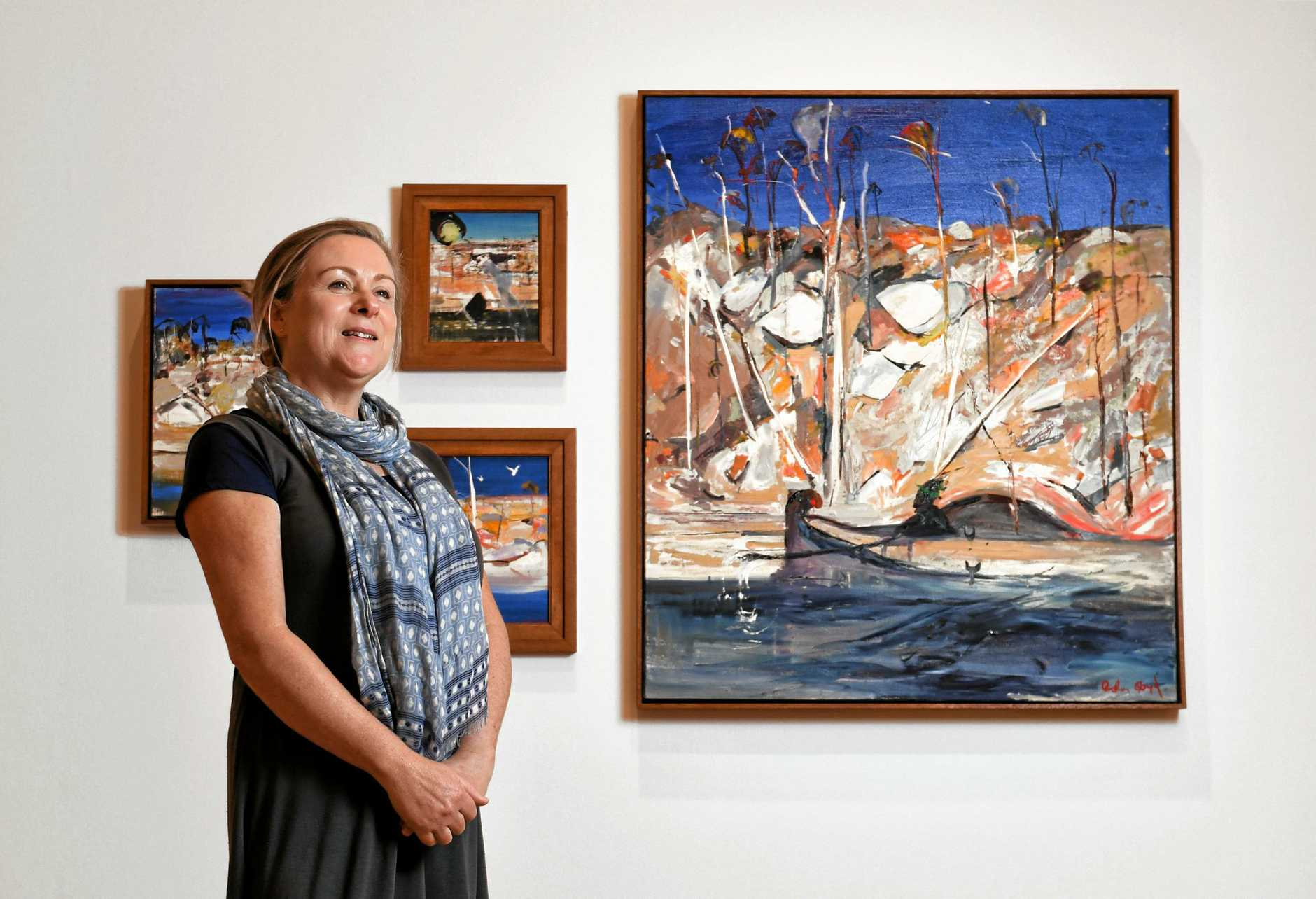 Bundanon Trust collections and exhibitions manager Jennifer Thompson with some works from Arthur Boyd exhibition  'Landscapes of the Soul' exhibited at the Ipswich Art Gallery from May 26.