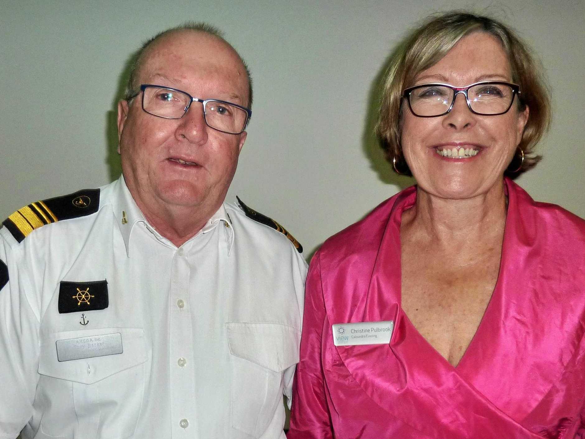 AN INSIGHT: Caloundra Evening VIEW Club assistant secretary Chris Pulbrook with Caloundra Coast Guard Deputy Commodore Tony Barker.