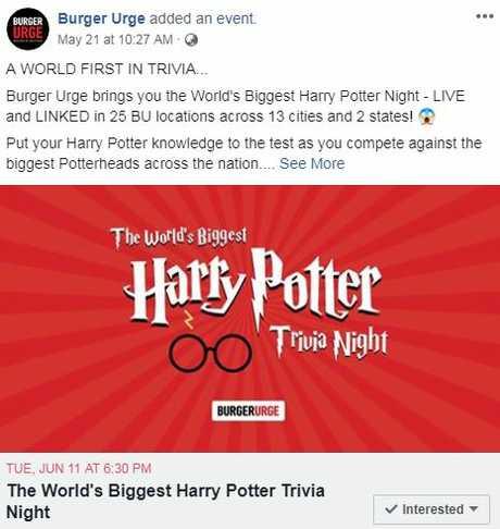 Harry Potter trivia at Burger Urge.