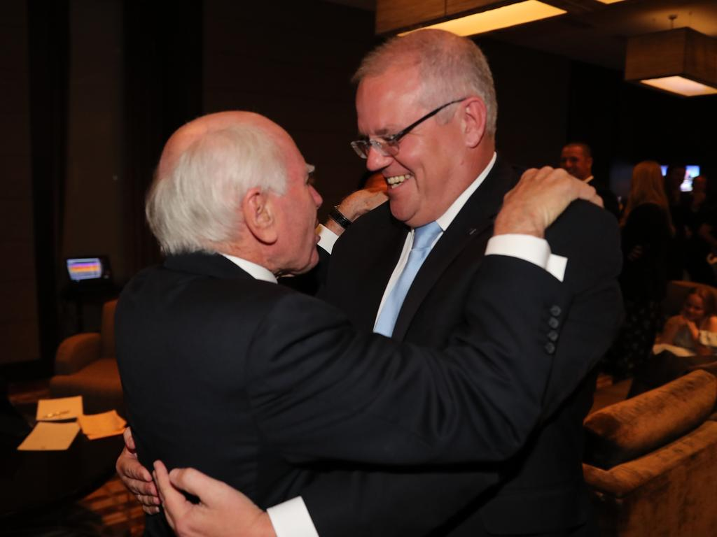 Former PM John Howard congratulates Scott Morrison on his election win. Picture: Adam Taylor