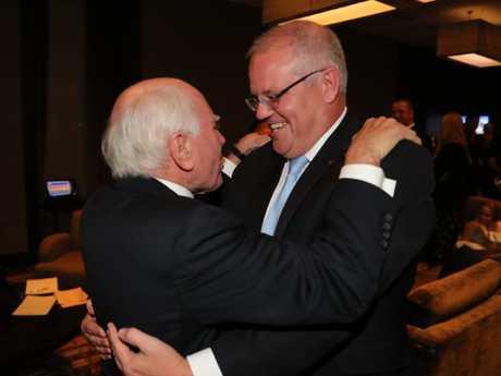 Former PM John Howard congratulates Scott Morrison on his election win. Picture: Adam Taylor