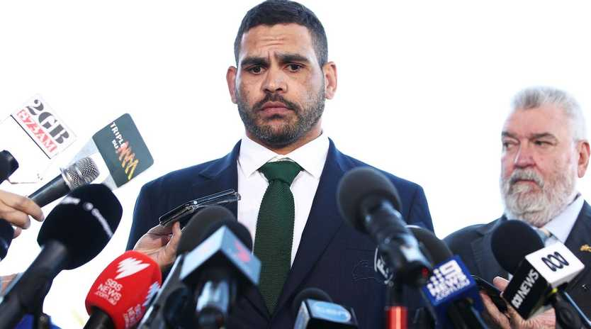 Greg Inglis speaks to the media after he was charged with drink driving. Picture: Matt King