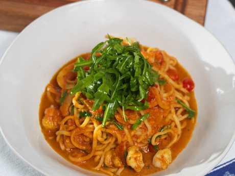 A Prawn Linguine dish from Jamie's Italian in Australia, in Brisbane late 2014. Picture: Ken Martin