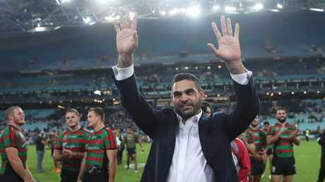 Greg Inglis waves farewell to fans at ANZ Stadium after his retirement. Picture: Phil Hillyard