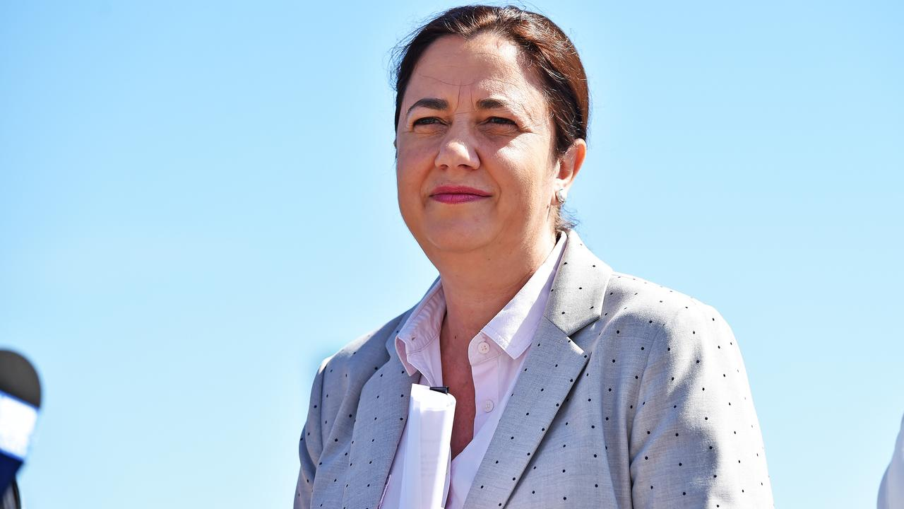 Premier Annastacia Palaszczuk addresses the media at the Port of Townsville. Picture: Zak Simmonds