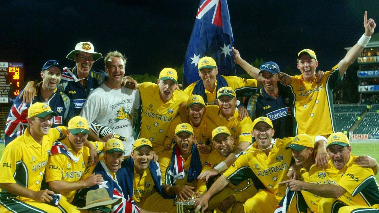 The 2003 Australians celebrate their World Cup win. Picture: Phil Hillyard