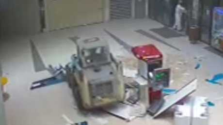 Police were called to a shopping complex following reports a bobcat had driven through the front doors