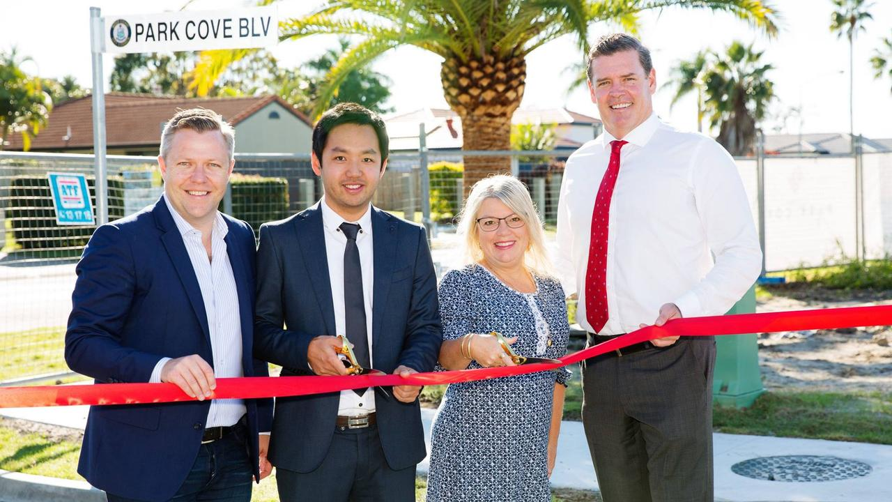 Julie Valli, middle, helped to cut the ribbon when the Park Cove development was launched in 2017. Picture: Facebook