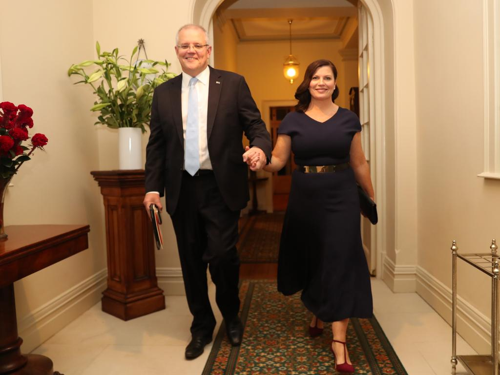 Scott and Jenny Morrison on election night. Picture: Adam Taylor