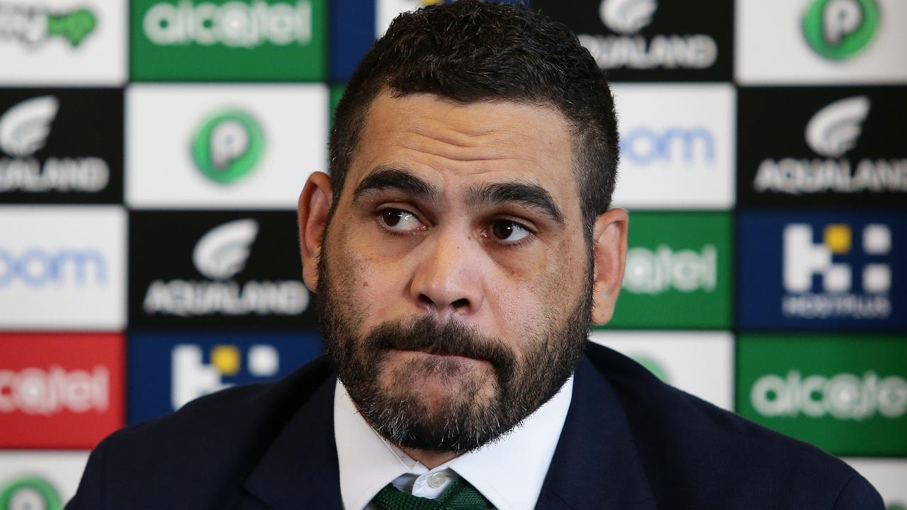 South Sydney NRL player Greg Inglis announces his retirement during a press conference at Redfern Oval, Sydney. Picture: Brett Costello