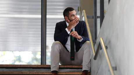Greg Inglis on a stairwell in the moments before announcing his retirement. Picture: Brett Costello