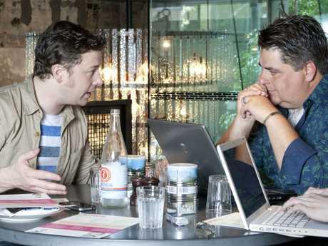 MasterChef Australia judge Matt Preston interviews celebrity chef Jamie Oliver at Jamie's Italian restaurant, in Sydney. Picture: Supplied