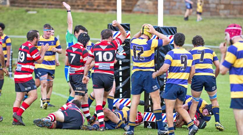Rangers celebrate a try by forward Gordon McNeil against Dalby in their round-nine Risdon Cup match at Gold Park on Saturday.