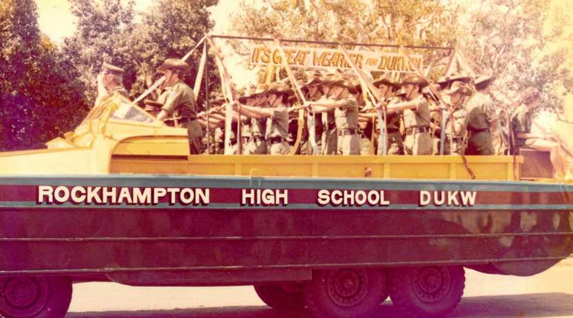 Rockhampton high school DUKW Cadets in the 1981 Capricana Parade.