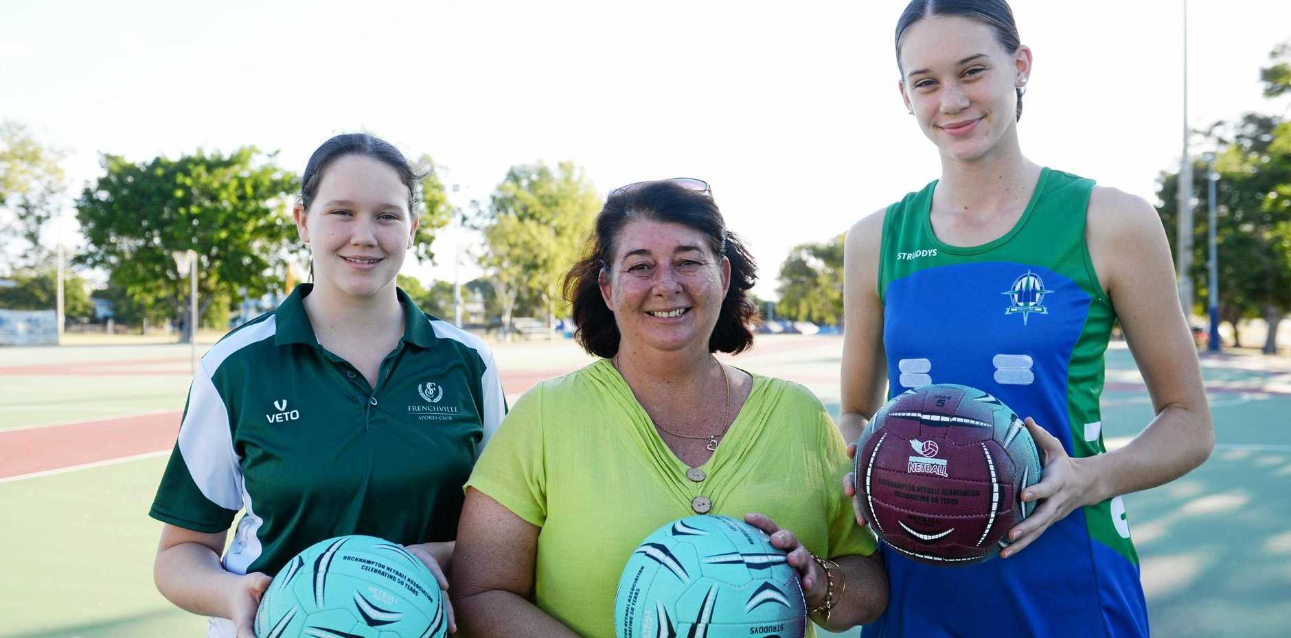 GAME ON: Sullivan's Carnival convenor Leesa Friske with Shearer twins Katelyn (left), who will coach the Frenchville Monkeys in Junior F Division 2, and Isabelle (right), who will play with the TCC Titans in senior A this weekend.
