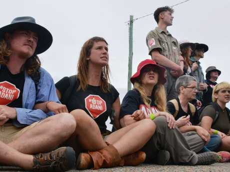 Anti-Adani protesters block access to the Abbot Point coal terminal at Bowen in 2017.
