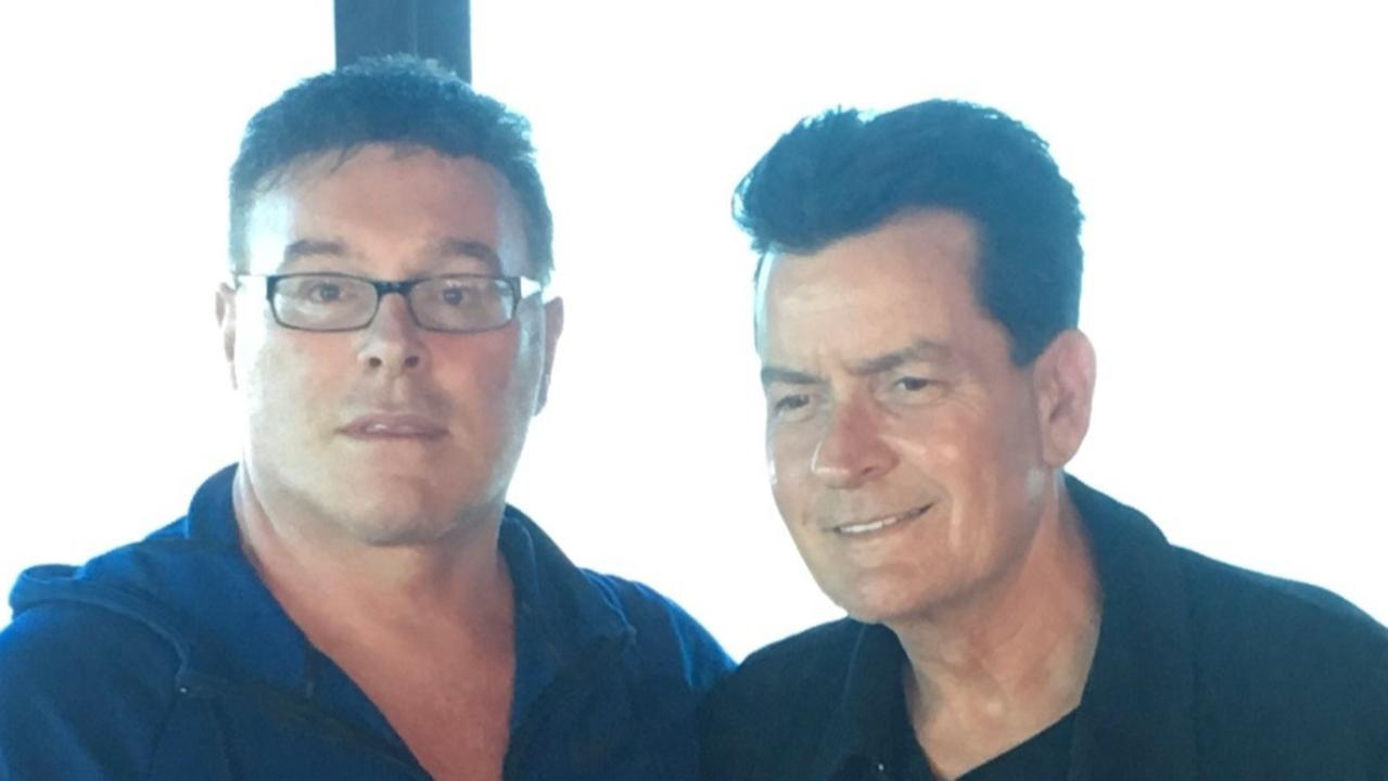 Ultra Tune owner Sean Buckley with Charlie Sheen in Melbourne during filming.