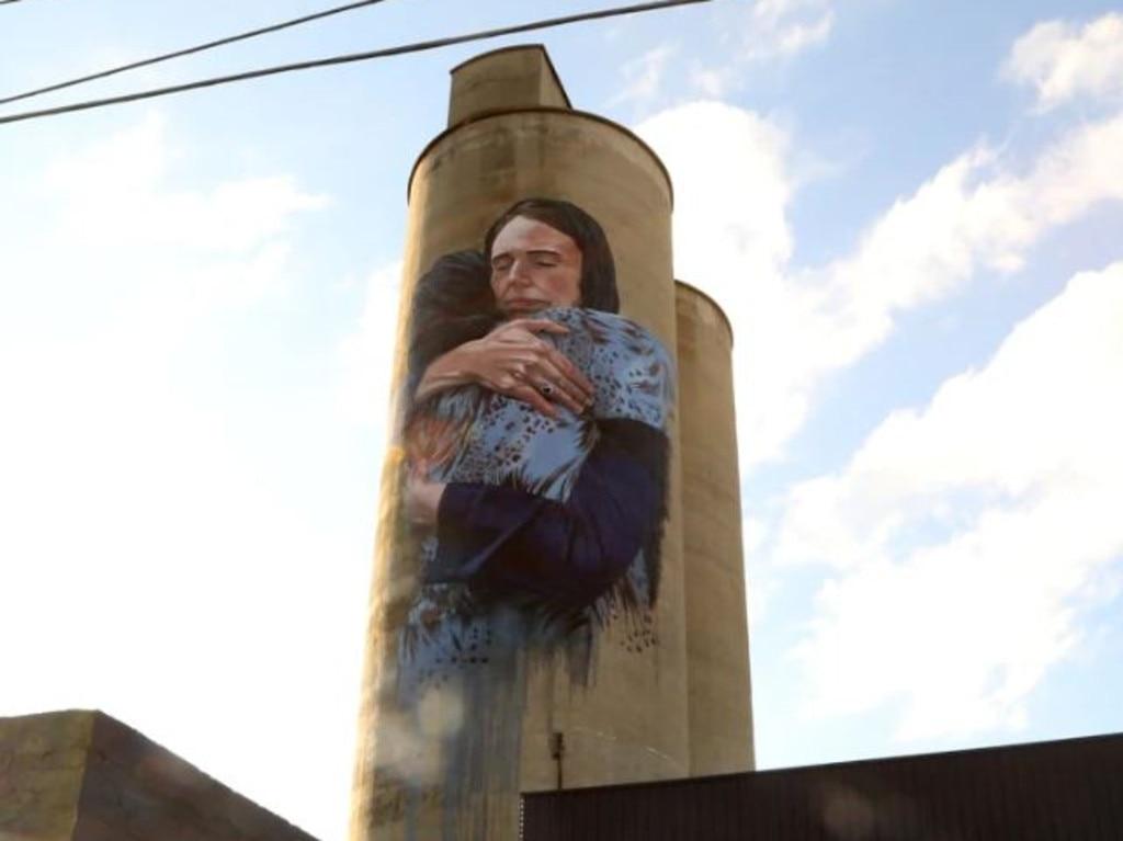 Loretta Lizzio painted a mural of Jacinda Ardern on a Brunswick silo. Picture: Loretta Lizzio