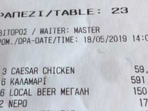 Tourist's fury over lunch receipt