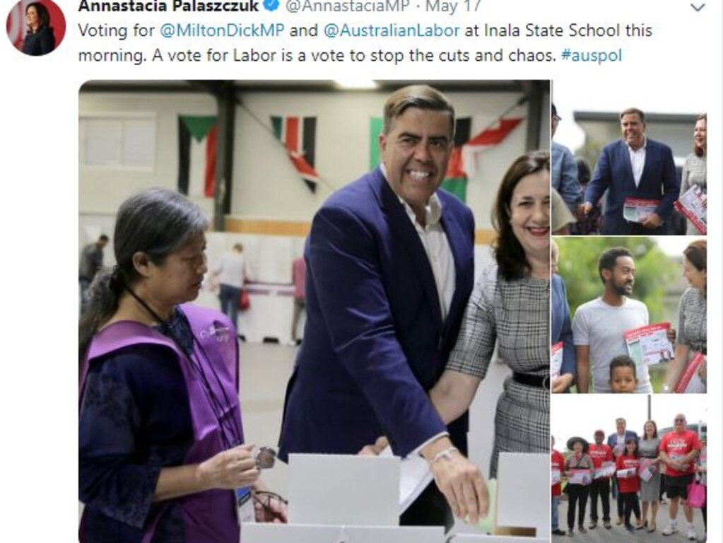 Annastacia Palaszczuk Verified twitter account election day tweet.