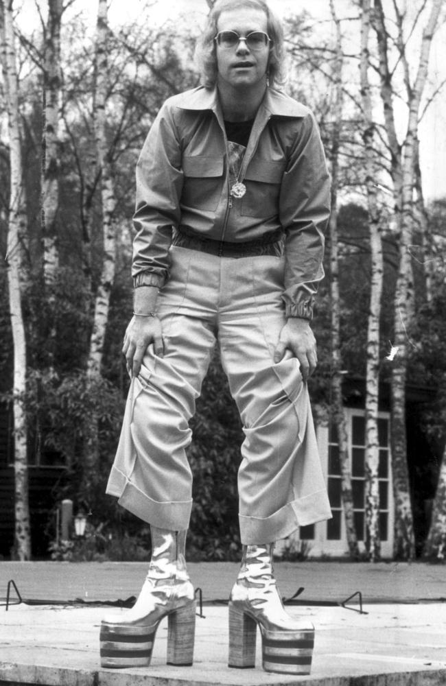 Elton John wearing six inch platform boots 1973.