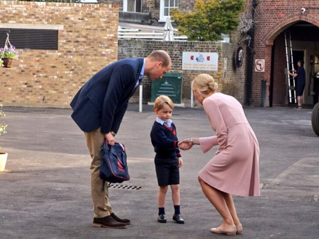 Prince George arrives for his first day of school at Thomas's Battersea with his father The Duke of Cambridge. Picture: Supplied