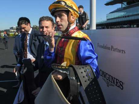 Adam Hyeroninmus after his winning ride on Prince Fawaz.