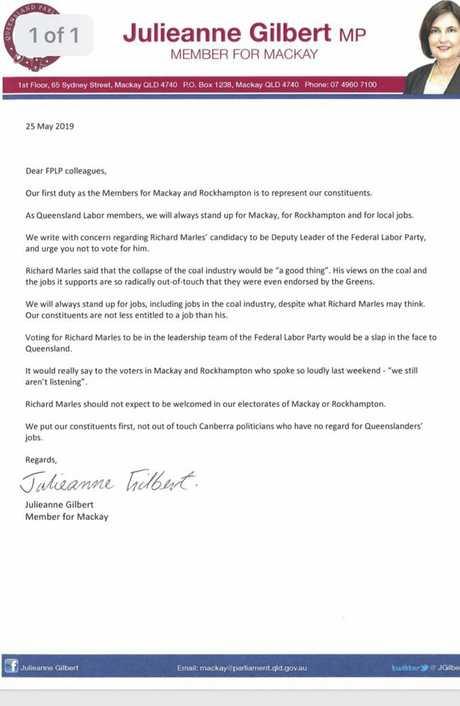 Julienne Gilbert's letter.