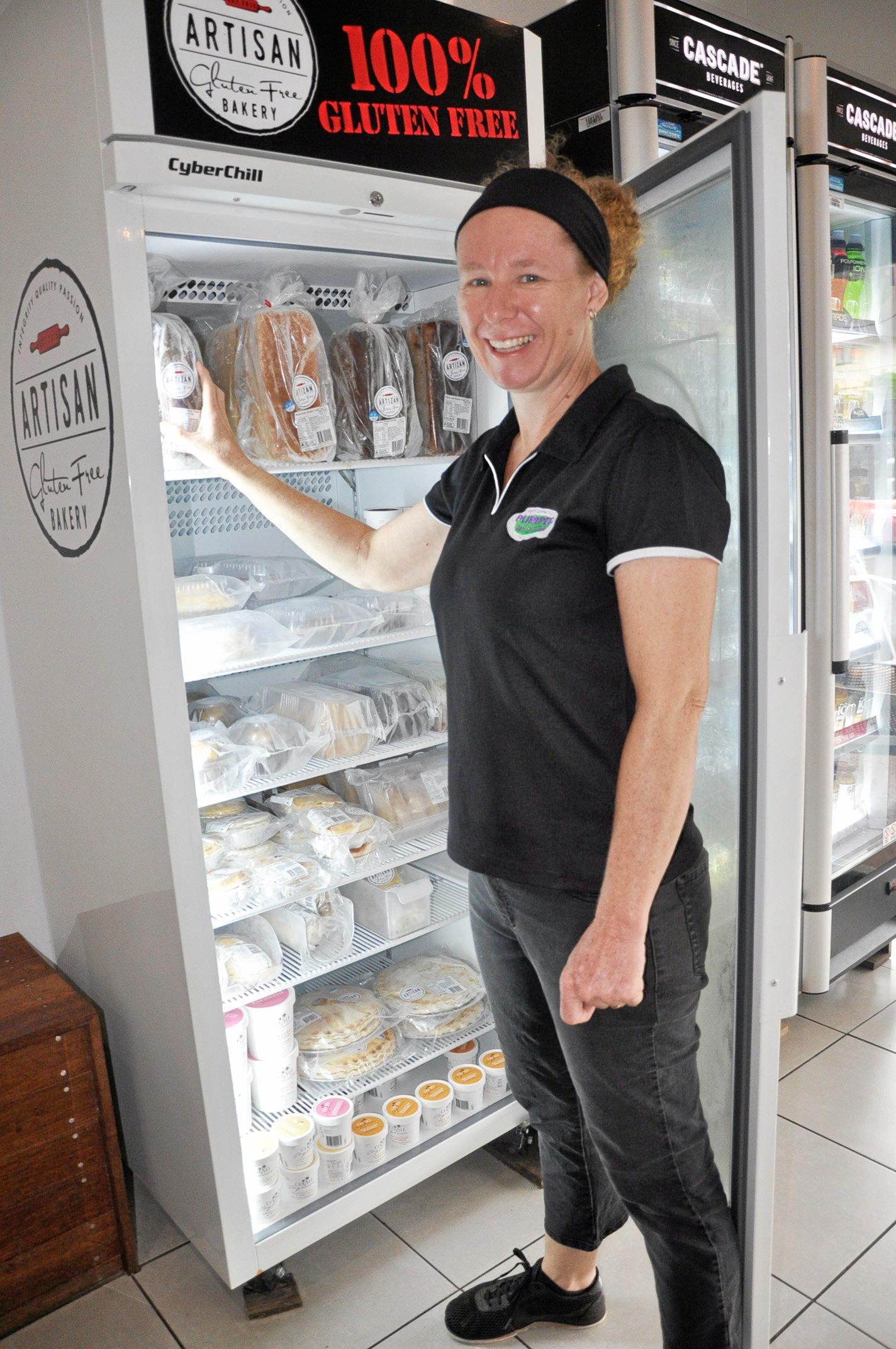 Joanne Amos carries a wide range of gluten free produce at Pumped Juice in Yeppoon
